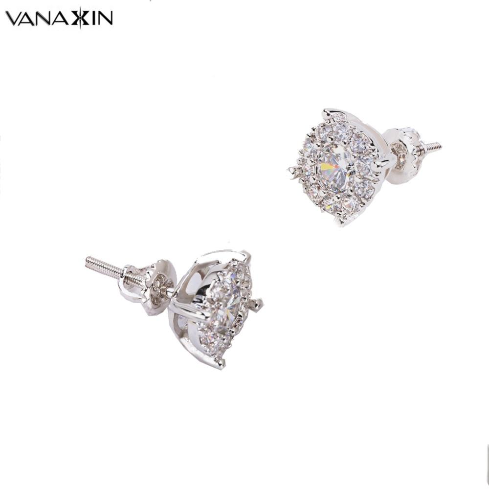 VANAXIN Crystal Stud Earrings for Women Black Nickle Rhodium Plated female Earring Brand Design Trendy Girls Ear jewelry Brincos