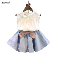 Girls Dress Set 2018 Baby Girl Clothes New Ladies Lace Sleeveless Blouse Bow Skirt 2pcs Toddler