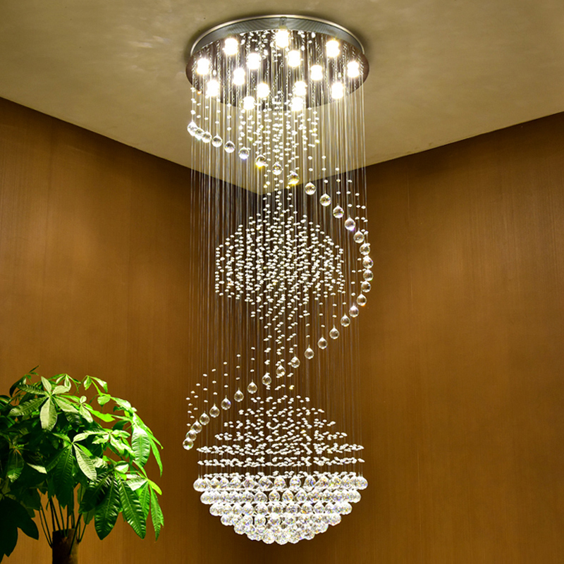 luxury modern large big stair long spiral crystal chandelier lighting fixture for staircase rain drop pending