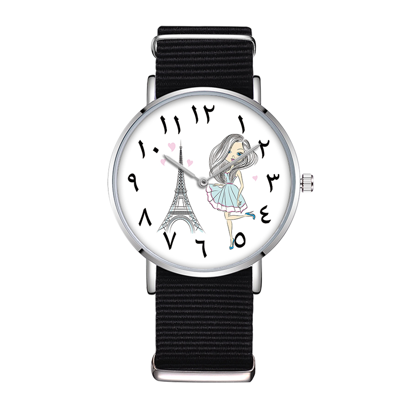 цена на D-0025 BAOSAILI Carton Girl And Tower Ladies Watch Arabic Numerals Dial Design Watch Women Casual Creative Clock