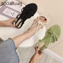 SUOJIALUN Fashion Womens Sandals 2019 Summer Ladies Shoes Cross Strap Flat Slides Casual Outdoor Sandalias