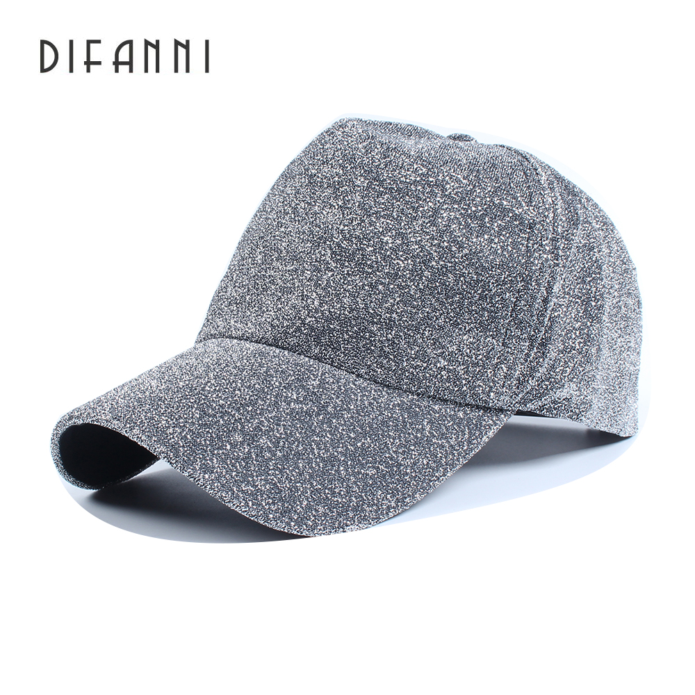 Difanni brand Winter Baseball cap Evening Woman Man Cap Shiny Glitter cotton couple hip hop adjustable snap back Plain black man woman vintage military washed cadet hat army plain flat cap