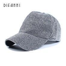 Difanni brand Winter Baseball cap Evening Woman Man Cap Shiny Glitter cotton couple hip hop adjustable snap back Plain black