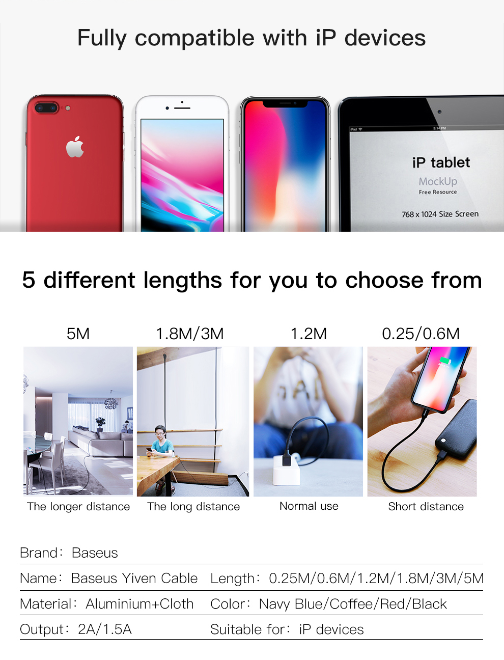 Baseus USB Cable For iPhone Xs Max Xr X 11 8 7 6 6s 5s iPad Fast Charging Charger Mobile Phone Cable For iPhone Wire Cord 3m 5m 18