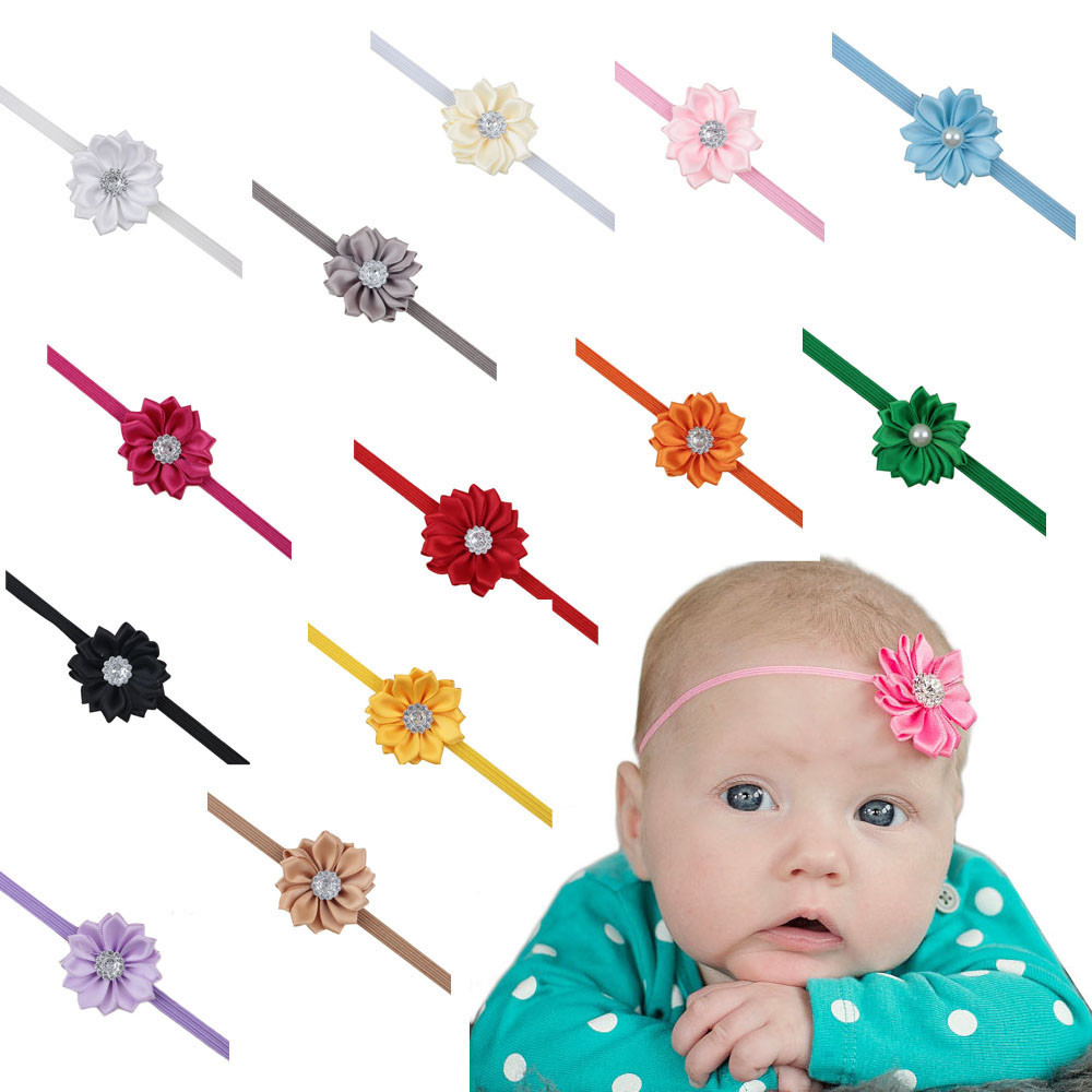 Hot Sale Cute Baby Girls Headbands cloth Rhinestone Flower Hair Accessories For Girls Hair Band free shipping Bunchems head band