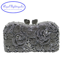 Silver Hard Box Clutch Metal Crystal Evening Bags And Purses For Matching Shoes And Womens Wedding