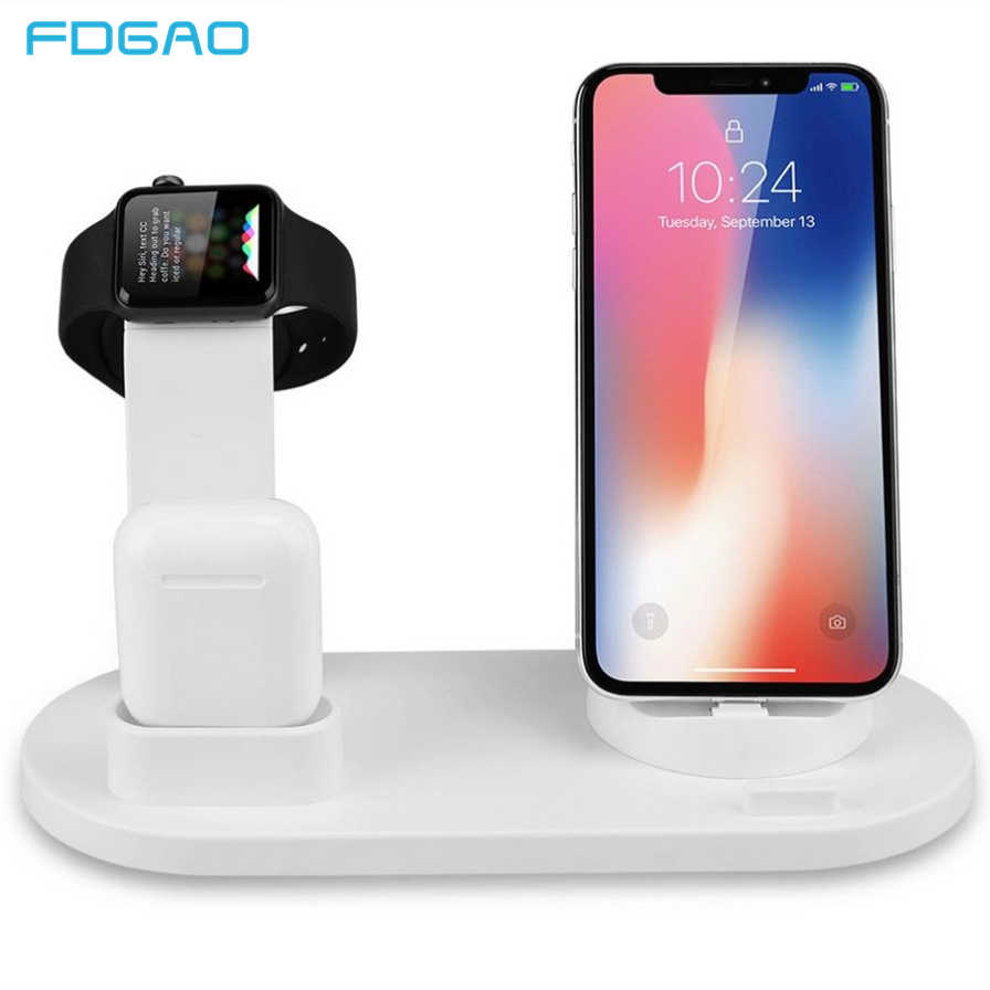 3-In-1 Pengisian Dock untuk iPhone 11 X XR X MAX 8 7 Samsung Apple Watch 5 4 3 2 1 Airpods Charger Pemegang Stand USB Tipe-C Station