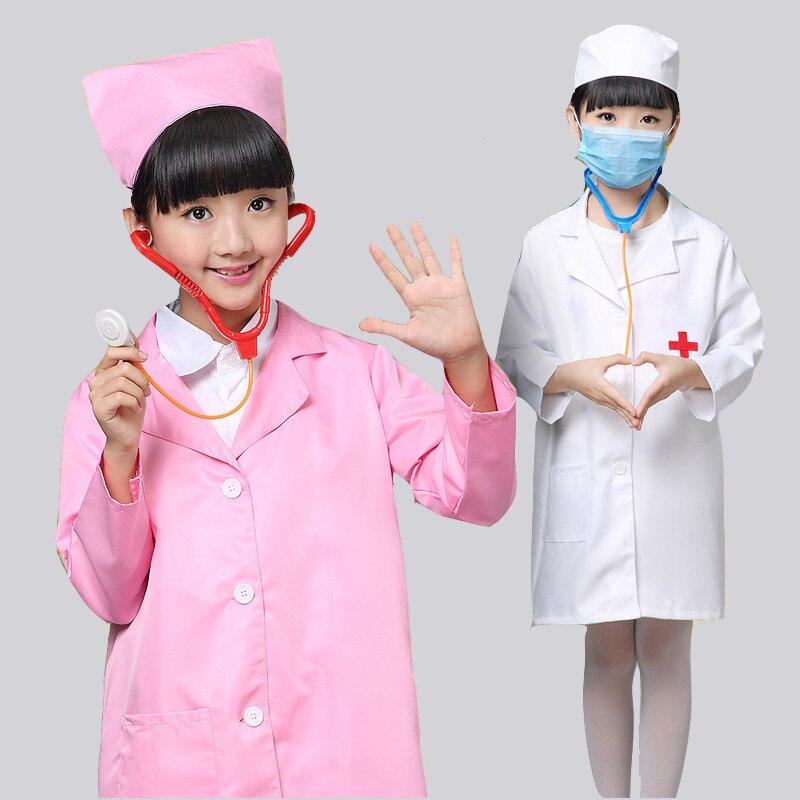 Cosplay Costume Kids Doctor Costume Nurse Uniform With Hat +Mask Children Halloween
