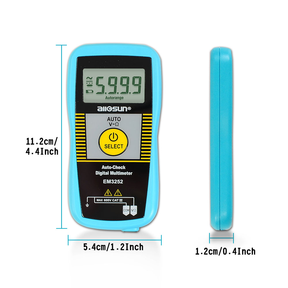 all-sun EM3252 Auto Ranging Pocket Digital Multimeter 7-Modes Voltage Resistance Frequency Capacitance Continuity Tester
