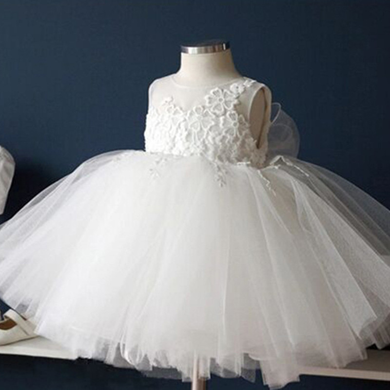 2016 nieuwe witte zomerjurk voor meisjes 0-2years mouwloze prinses - Babykleding