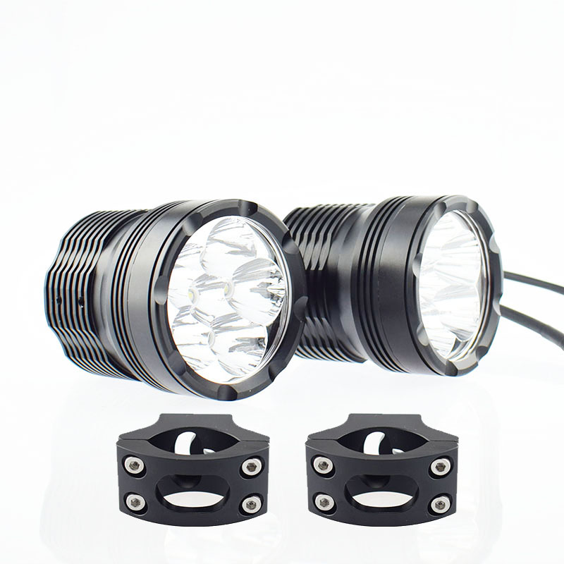1Pair Motorcycle Headlight LED Chip Motor Driving Fog Lamp 12V Spot Bicycle Auxiliary Spotlight 60W Head Light Headlamp Offroad
