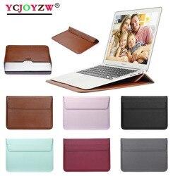 Saco do portátil de couro 11 12 13 15 16 polegada huawei caso para macbook m1 ar pro 2012 ~ 2020 computador tecido capa manga acessórios