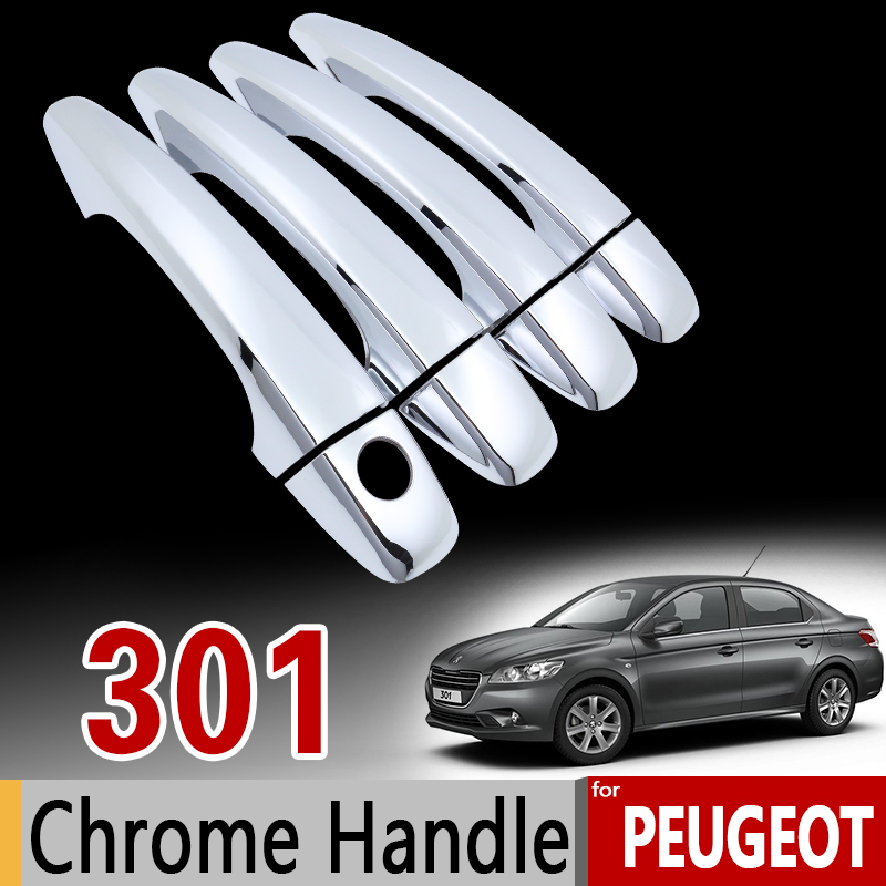 for Peugeot 301 Luxurious Chrome Handle Cover Trim Set of 4Door 2011-2017 2012 2015 2016 Car Accessories Stickers Car Styling nitro triple chrome plated abs mirror 4 door handle cover combo