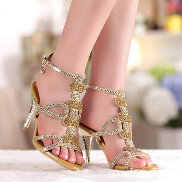 2018 Popular Gold   Blue Sandal Floral Rhinestones 8cm High Heels Dress  Women Lady Bridal Wedding Shoes 8aeceb5fd20a