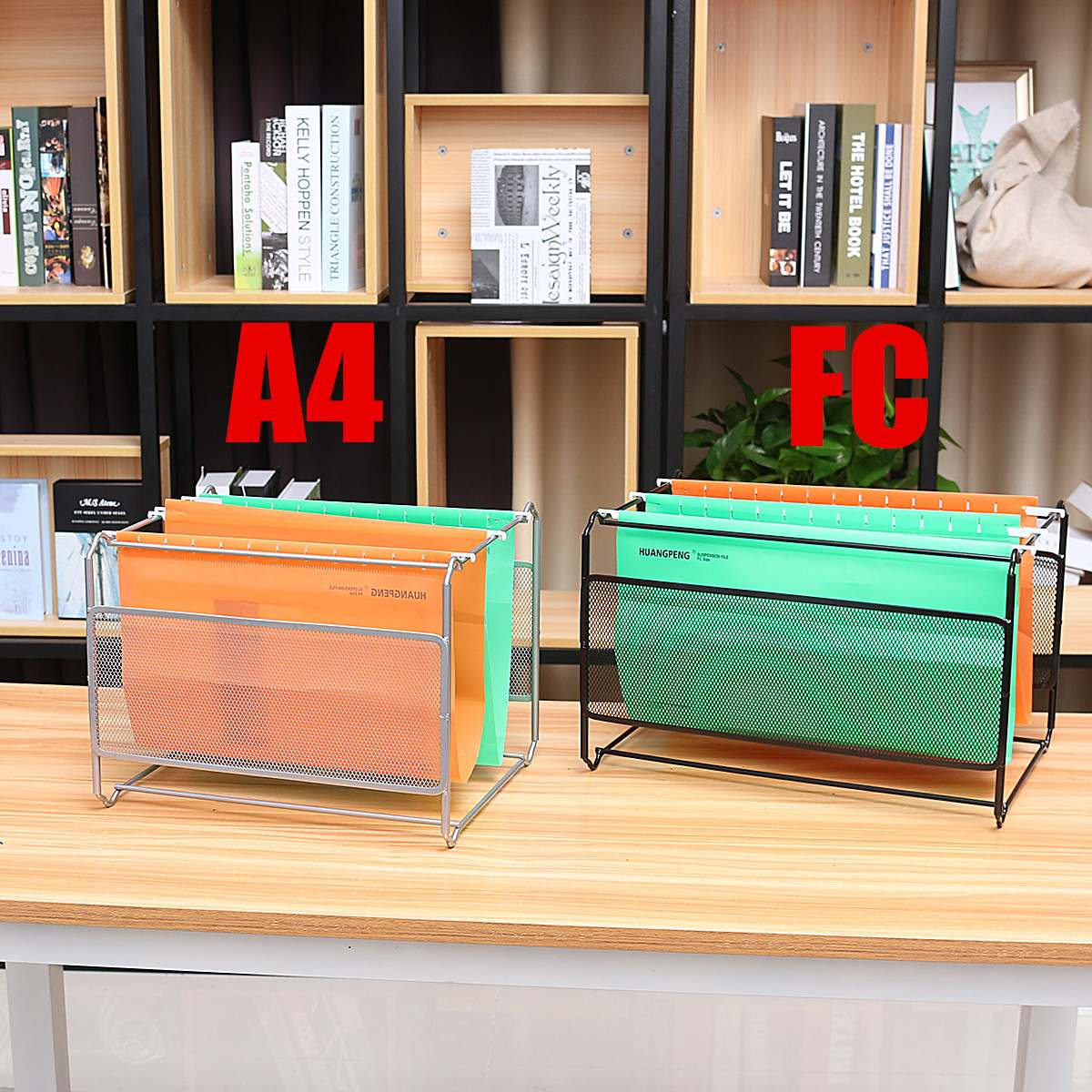 Magazine Holder Grid A4 File Bookshelf Wrought Iron Letter Storage Rack Tray Holder New Office Desk Organizer File Tray
