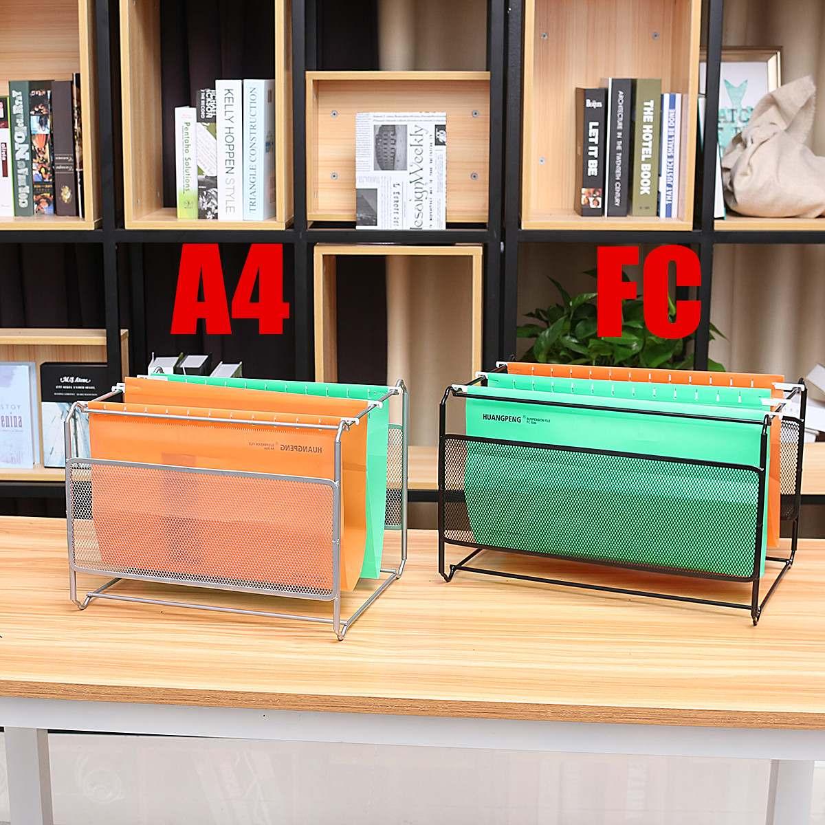 Magazine Holder Grid A4 File Bookshelf Wrought Iron Letter Storage Rack Tray Holder New Office Desk Organizer File Tray