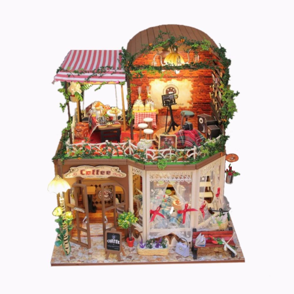 Maison de poupée meubles bricolage Miniature couverture de poussière 3D en bois Miniaturas Double étage maison de poupée pour enfants cadeaux d'anniversaire de noël