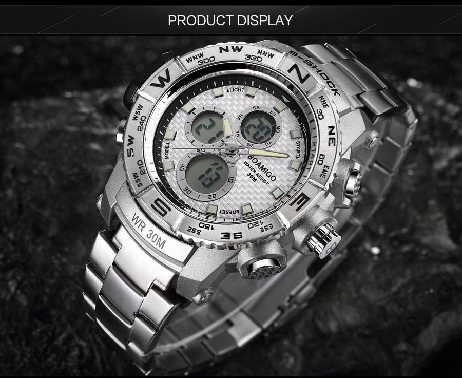BOAMIGO Fashion Sport Man Watches Stainless Steel LED Digital Watch Analog Quartz Movement Waterproof Dual Display Wristwatches (2)