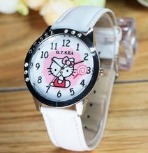New Leather Brand Watches Children Girl Women Casual Fashion Quartz Watch Hello Kitty Cartoon Wrist Watch Clock