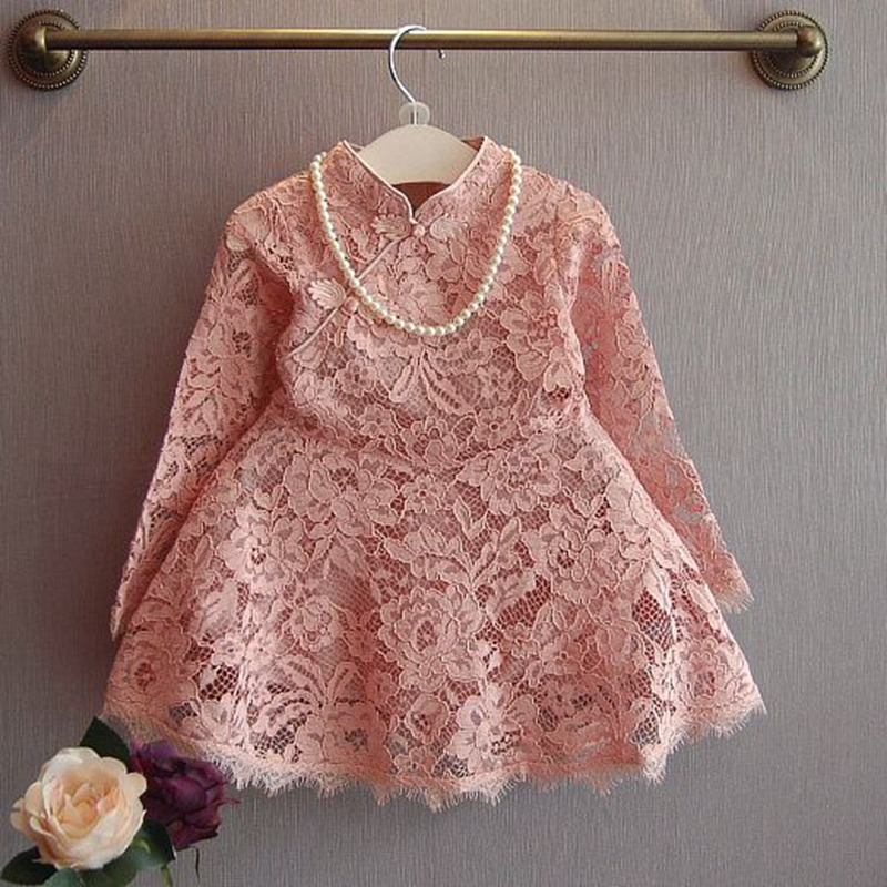 Fashion Autumn Children Kids Baby Girls Roupas Long Sleeve Lace Tang Cheongsam Dresses Princess Tutu Party Vestidos Dress S4043