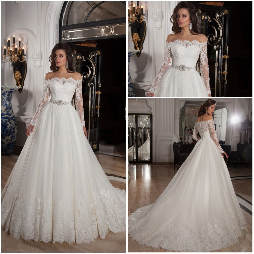 Vestidos de noiva 2016 off shoulder lace long sleeve ball for Long sleeve plus size wedding dress