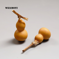 2PCS WIZAMONY Calabash Lagenaria Siceraria Little Teapet Purely Natural Good Fortune More Children Kongfu Teaset