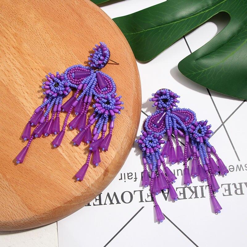 Женские серьги ручной работы Flatfoosie, большие висячие серьги с кисточками, богемные винтажные яркие сережки-подвески с бисером и бахромой, юв...