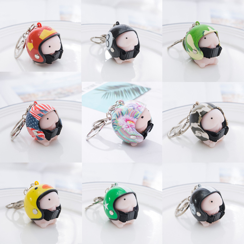 Cartoon Ding Ding Anti Stress Squishy Toys Dingding With Helmet Keychain Tintin Key Ring Pendant Novelty Prank Jokes Toys
