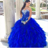 2019 off shoulder Quinceanera gown royal blue crystal Ball Gown Prom Dress Quinceanera Dress Sweet 16 vestido de festa debutante