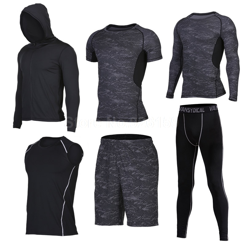 2017 Running Suits Men Sports Suits t 6pcs Homme Gym Men Running Compression Shir Traini ...