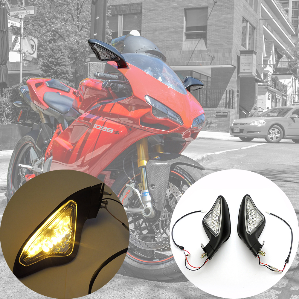 Motorcycle Mirror Turn Signal Lights Rearview Mirrors for DUCATI 848 1098 1098S 1098R 1198 1198S 1198R 2007-2012 1set motorcycle rearset foot pegs footrest rear set for ducati 848 1098 1098s 1098r 1198 titanium wholesale d10