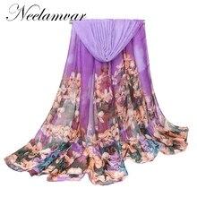 Fashion polyester Cotton Floral  Printed Elegant Scarf Women Long Warm Wrap Shawl Female Bufanda Mujer and scarf