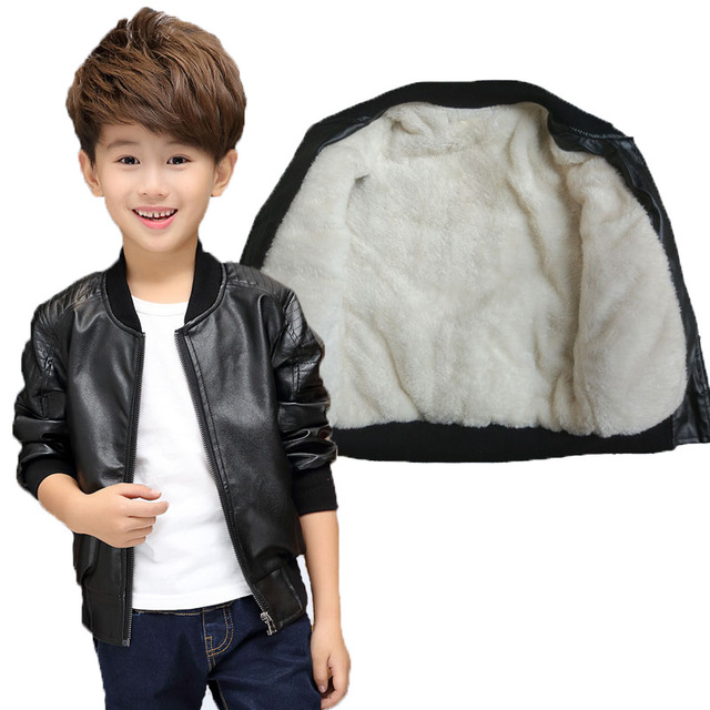 teenage Leather Jacket Handsome Boys Girls Winter Thick Velvet Warm Pu Jacket Fashion Black Overcoat Children Clothes Coat