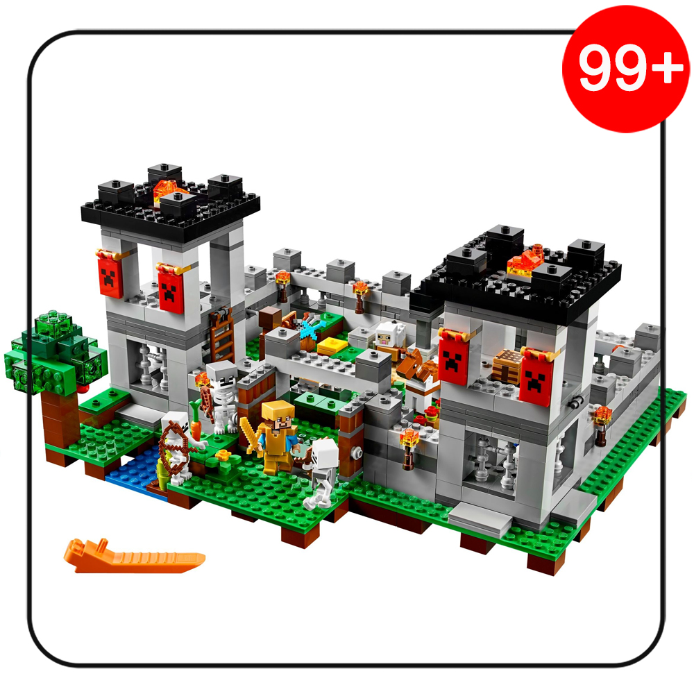 523pcs 18005 My Worlds The Fortress Set Skeletons Compatible Legoe MineCraft 21127 Model Building Blocks kits toys for Children wange mechanical application of the crown gear model building blocks for children the pulley scientific learning education toys