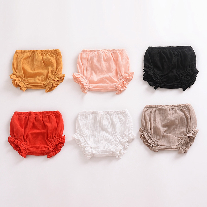 Summer New Baby Chiffon Fashion Casual Large PP Shorts Infant Solid Color Cotton Linen Bloomers Toddler Girls Bread Pants 2018