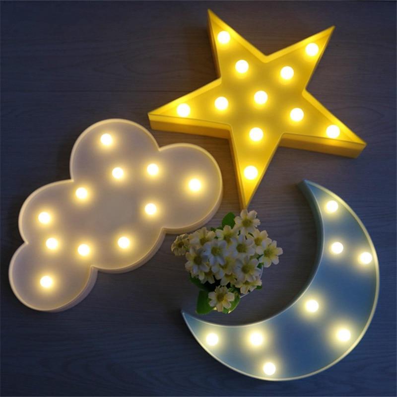 Lovely Cloud Star Moon LED 3D Light Night Light Cute Kids Table Light For Baby Children Bedroom Decoration Lamp Indoor Lighting