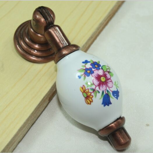 купить vintage antique copper shaky pendant furniture handle white blue drawer cabinet knob red bronze dresser cupboard pull handle недорого