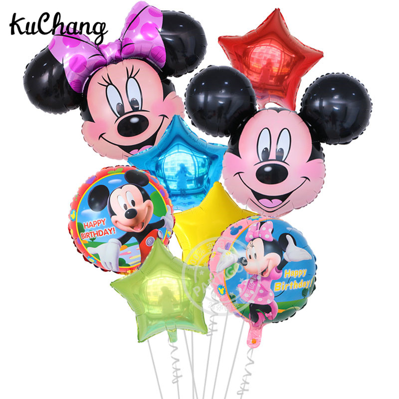 8pcs/lot Large Mickey Minnie Head Foil Balloons Birthday Party Mickey Mouse 18inch Round Star Helium Globos Decor Kids Gift Toy