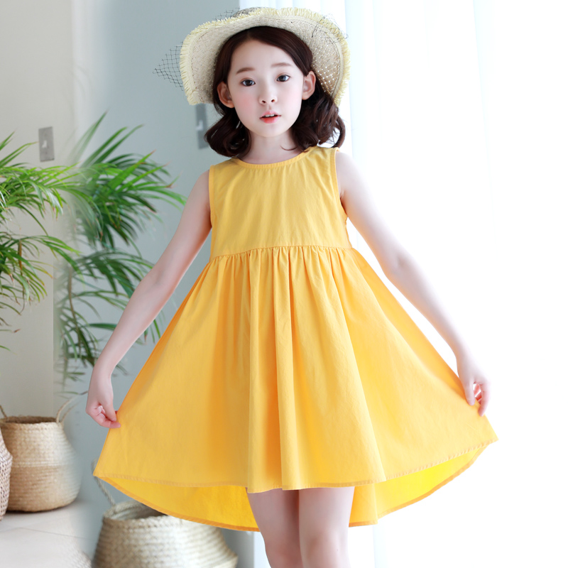 Kids girls dress 2018 Summer Yellow cotton princess dresses for girls Casual Bow sleeveless Children clothes 3 5 7 9 11 13 years little j summer girls dress kids sleeveless strawberry printed princess dress cotton vestidos children clothes bowknot dress