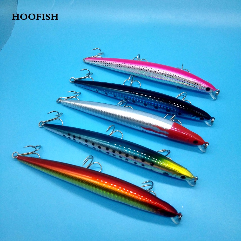 HOOFISH 5PCS/LOT Minnow fishing lure 19g/14cm 5colors Deep Sea Fishing Bait Floating Lure Three Tackle Hooks hard lure