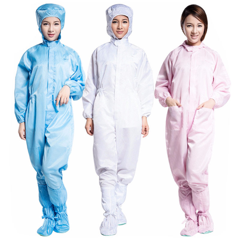 Cleanroom Anti-static Safety Protective Clothing Coverall Uniforms Natural skin Anti-shrink ESD Workwear Clothing For Chemical 500 grams about 750pcs milky latex rubber powder free working protective finger sets anti cutting cleanroom esd work gloves