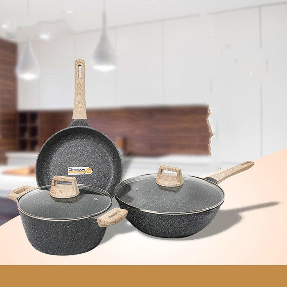 Importé mai fan stone 24 friture 24 soupe 30 wok set 3 ensembles de combinaison de casserole antiadhésive LM12171113