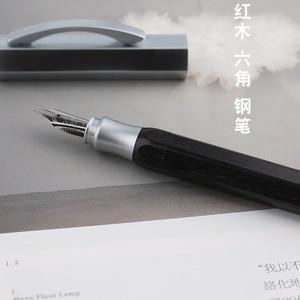 Image 3 - NEW Moonman Delike Hexagonal Black Wood Fountain Pen Iridium EF/F/Small Bent Nib Optional Advanced Office Business Writing Gift