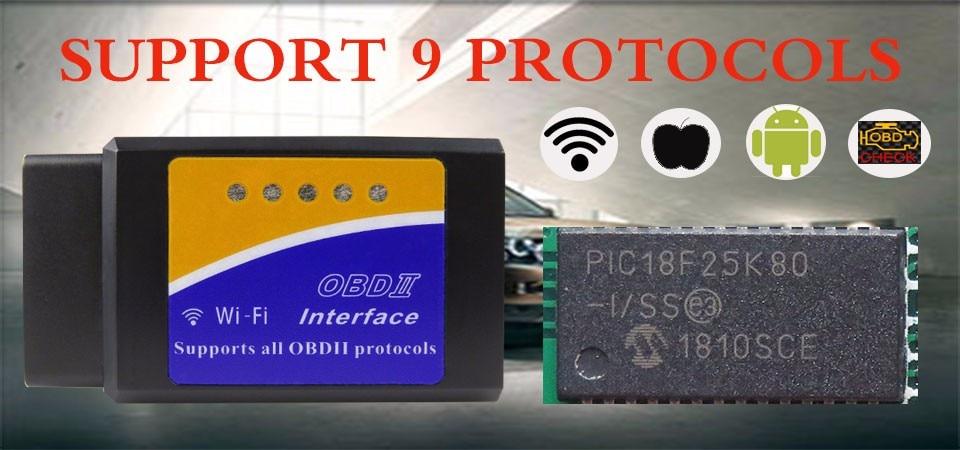 Real PIC18F25K80 Hardware V1.5 ELM327 WIFI OBD2 Car Diagnostic Scanner For Android iPhone Wi-fi ELM 327 OBD 2 Diagnostic Tool