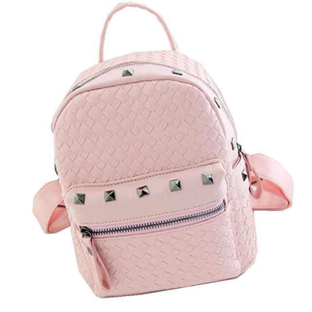ee2ef5312 New 2016 Fashion Mini Bags PU Leather College Bag Rivet Backpacks Knitting  Leather Backpack Women Free Drop Shipping