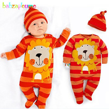 babzapleume Spring Autumn baby jumpsuit infant clothes girls boys rompers hats cute cotton newborn clothing set