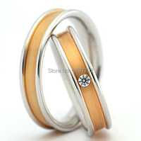 top quality custom made yellow gold colour health korean style titanium engagement couple rings set for lovers