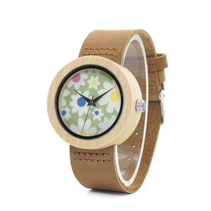 Image 1 - בובו ציפור שעונים נשים במבוק שעון פרחי הדפסת גבירותיי שעוני יד עור אמיתי רצועת relogio feminino B D18 4