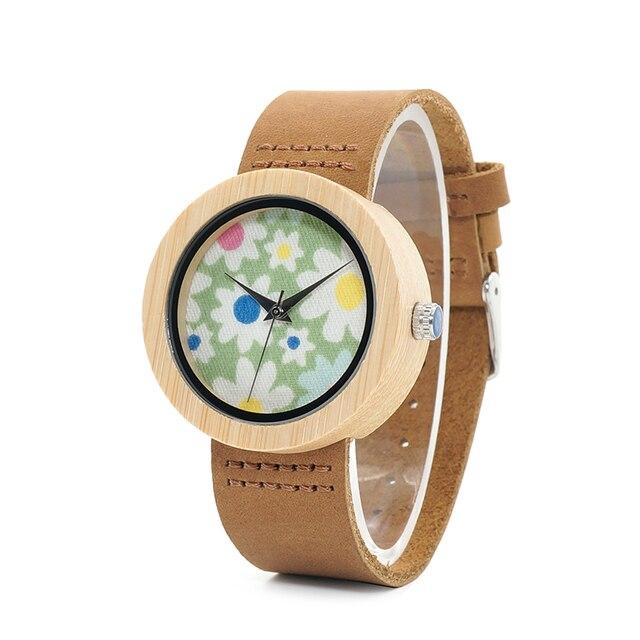 בובו ציפור שעונים נשים במבוק שעון פרחי הדפסת גבירותיי שעוני יד עור אמיתי רצועת relogio feminino B D18 4