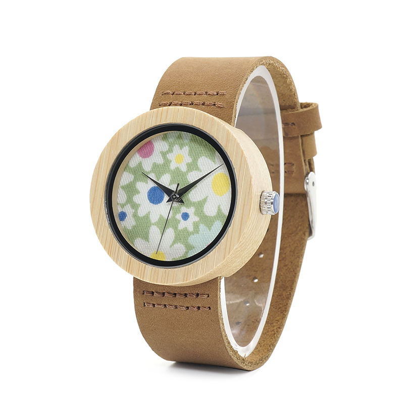 BOBO BIRD Watches Women Bamboo Watch Flowers Printing Ladies Wristwatches Genuine Leather Strap Relogio Feminino B-D18-4